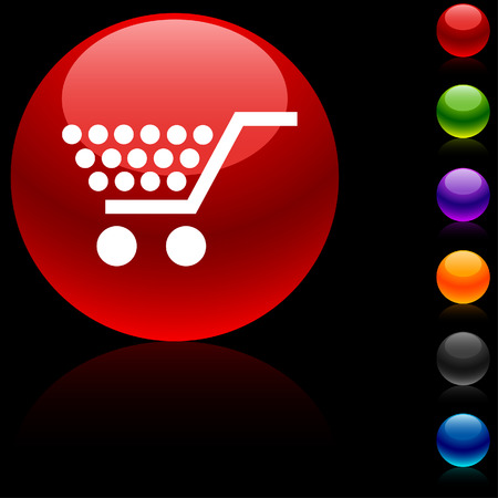 Shopping  glossy icon.  Vector