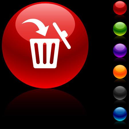 Delete  glossy icon.  Vector