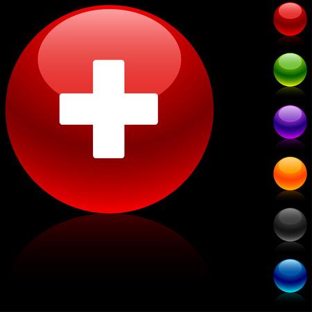 ball aqua: Switzerland  glossy icon.