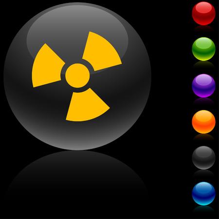 Radiation glossy icon. Vector illustration.  Vector