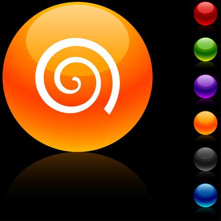 Swirl  glossy icon. Vector illustration.  Vector