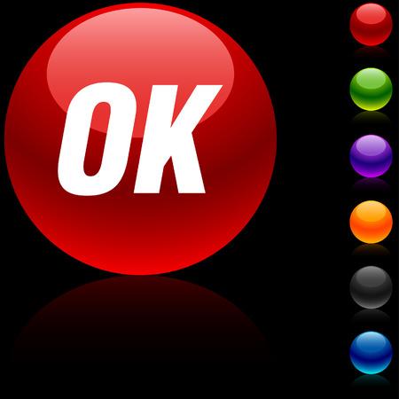 Ok glossy icon. Vector illustration. Stock Vector - 5680468