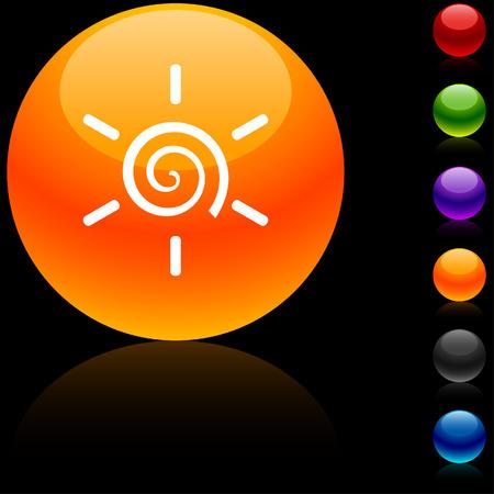 Sun  glossy icon. Vector illustration.  Vector