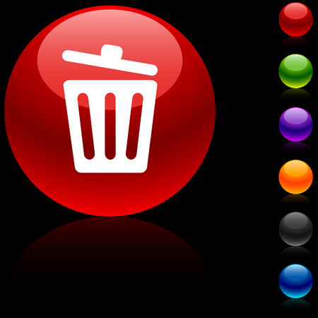 Recycle bin.  glossy icon. Vector illustration. Stock Vector - 5680466