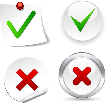 Iconos de validación blanco. Ilustración del vector.