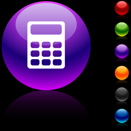 Calculate  glossy icon. Vector illustration.  Vector