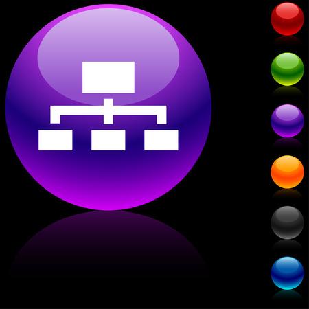 Network  glossy icon. Vector illustration. Stock Vector - 5680486