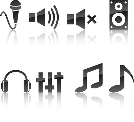 mic: Audio icoon collectie. Vector illustratie.  Stock Illustratie