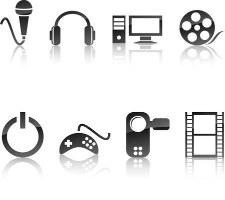 Multimedia icon collection. Vector illustration. Stock Vector - 5719327