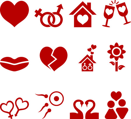 spermatozoon:  Love icon collection. Vector illustration.