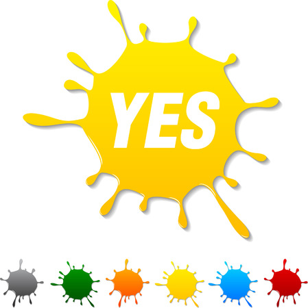 yes: Yes  blot icon. Vector illustration.  Illustration