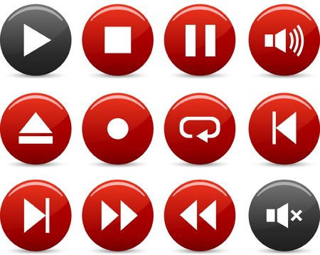 Player icon set. Vector illustration. Stock Vector - 5742237