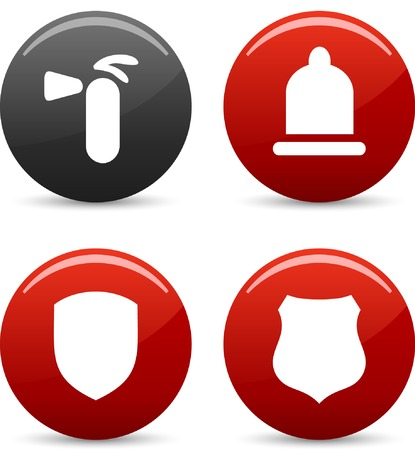 red condom: Safety  icon set. Vector illustration.