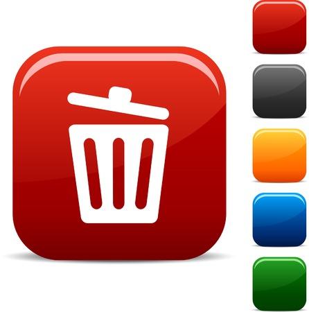 afvalbak: Prullen bak.  pictogram serie. Vector afbeelding.  Stock Illustratie