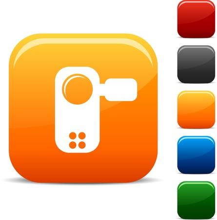 set square: Video icon set. Vector illustration.
