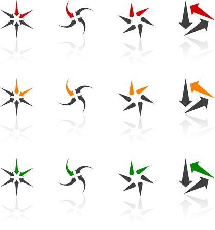 figure logo: Conjunto de s�mbolos abstractos. Ilustraci�n del vector.