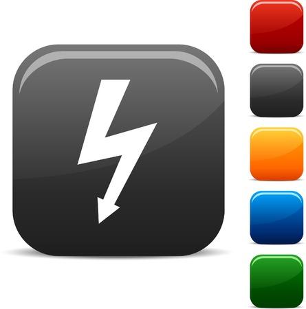 voltage gray: warning icon set. Vector illustration.  Illustration