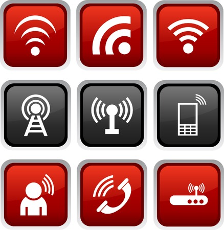 wifi sign: Communication icon set. Vector illustration.