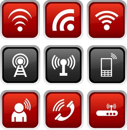 radio button: Icon Comunicazione set. Vector illustration. Vettoriali