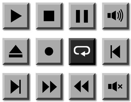 Player icon set. Vector illustration. Stock Vector - 5814847