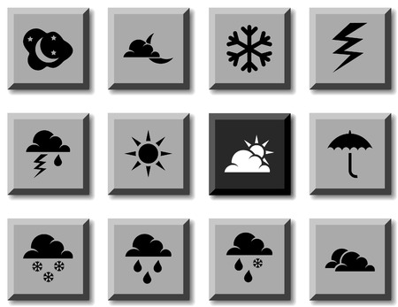 Weather icon set. Vector illustration. Stock Vector - 5814855