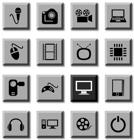 Multimedia icon set. Vector illustration. Stock Vector - 5814868
