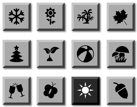 Seasons icon set. Vector illustration. Stock Vector - 5814856
