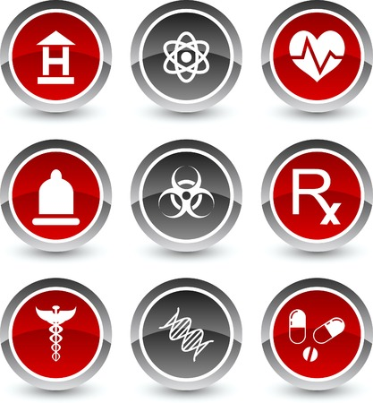 red condom: Medical icon set. Vector illustration.