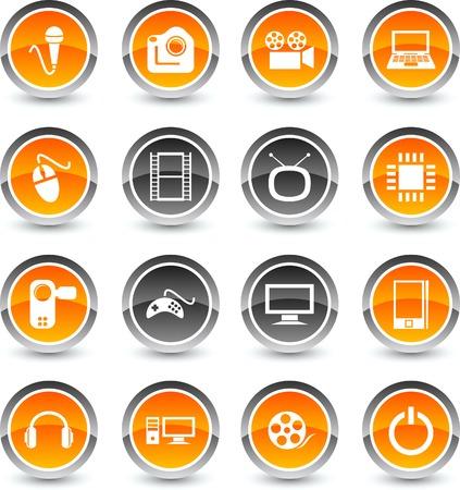 Multimedia icon set. Vector illustration.