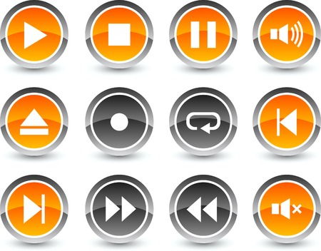 Player icon set. Vector illustration. Stock Vector - 5869114