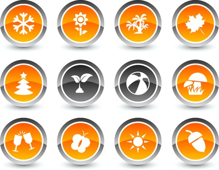 Seasons icon set. Vector illustration. Stock Vector - 5869119