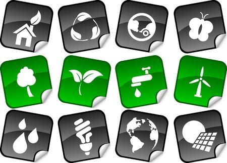 Ecology  sticker set. Vector illustration.  Stock Vector - 5911499