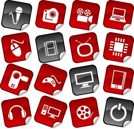 Multimedia  sticker set. Vector illustration. Stock Vector - 5911534