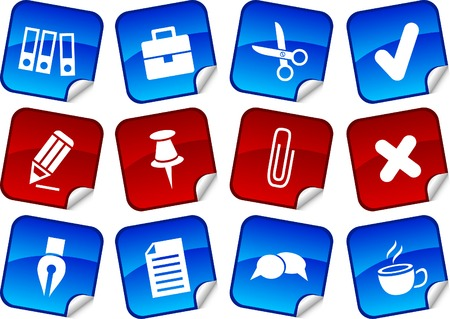 Office  sticker set. Vector illustration.  Illustration