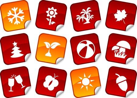 Seasons sticker set. Vector illustration. Stock Vector - 5911500