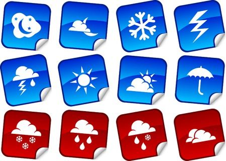 Weather sticker set. Vector illustration. Stock Vector - 5911498