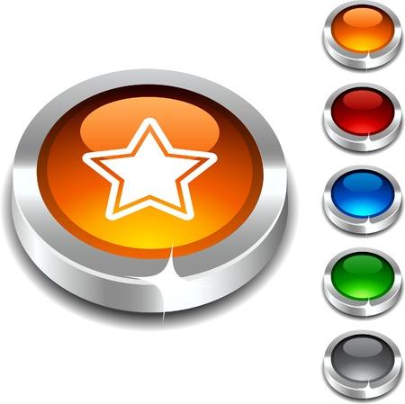 Star  3d button set. illustration.  Stock Vector - 5934375