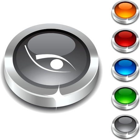 Eye 3d button set. illustration.  Stock Vector - 5934307