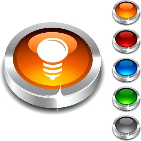 Bulb 3d button set. illustration.  Stock Vector - 5934377