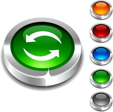 Refresh 3d button set. illustration.  Vector