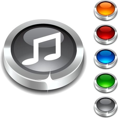 Music 3d button set.illustration. Stock Vector - 5934302