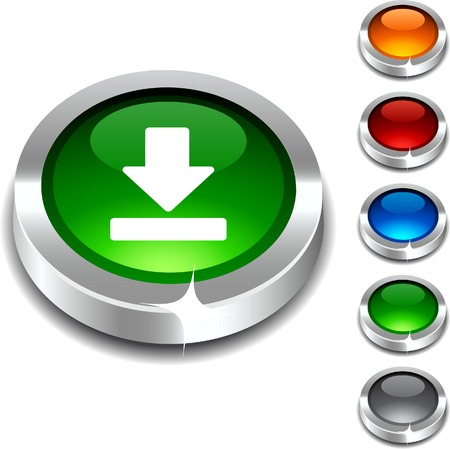 shiny icon: Download 3d button set. illustration.  Illustration