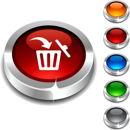 Delete 3d button set. illustration.  Vector