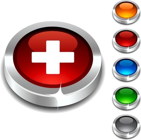 medical cross: Switzerland 3d button set. illustration.