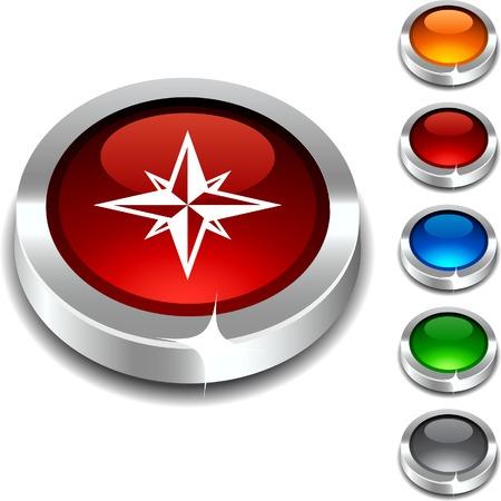 Compass 3d button set. Vector illustration.  Stock Vector - 5934387
