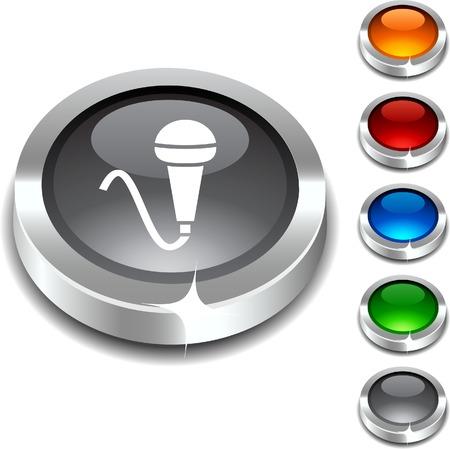 Mic 3d button set. Vector illustration.  Vector