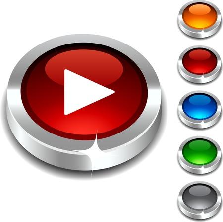 red metallic:  Play 3d button set. Vector illustration.