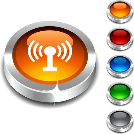 Radio 3d button set. Vector illustration.  Stock Vector - 5952782