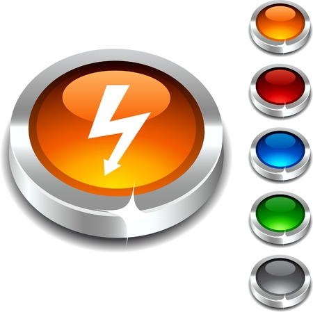 voltage gray:  warning 3d button set. Vector illustration.