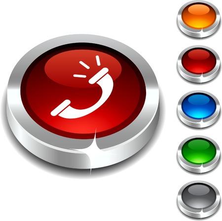 bouton brillant:  Jeu de boutons 3d de t�l�phone. Illustration vectorielle.